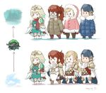 1boy 3girls alfonse_(fire_emblem) anna_(fire_emblem) armor blonde_hair blue_hair braid brother_and_sister brown_gloves cape closed_mouth coat crown crown_braid dated fire_emblem fire_emblem_heroes fjorm_(fire_emblem_heroes) fur_trim gloves goggles gradient_hair hood hood_up long_hair long_sleeves mittens multicolored_hair multiple_girls nintendo open_mouth ponytail redhead robaco sharena short_hair siblings smile standing twitter_username