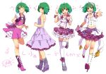 :d ;) \m/ ahoge alternate_color bare_shoulders boots cero_(cerocero) contrapposto cropped_jacket cross-laced_footwear dress full_body green_hair hairband high_heel_boots high_heels lace-up_boots layered_skirt looking_at_viewer macross macross_frontier microphone midriff_peek one_eye_closed open_mouth outstretched_arm puffy_short_sleeves puffy_sleeves ranka_lee red_eyes ribbon seikan_hikou short_hair short_sleeves sleeveless sleeveless_dress smile standing standing_on_one_leg strapless strapless_dress thigh-highs