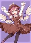 1girl bangs bird_wings brown_dress brown_hat dress feathered_wings frilled_sleeves frills hat highres long_sleeves mary_janes mob_cap mystia_lorelei open_mouth outstretched_arms pink_eyes pink_hair puffy_sleeves ruu_(tksymkw) shoes short_hair smile solo touhou undershirt white_wings winged_hat wings