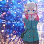 1girl blue_eyes charlotte_(anime) commentary_request copyright_name cowboy_shot earmuffs green_coat grey_skirt higashiji_kazuki long_hair looking_to_the_side mittens official_art open_mouth pink_scarf pleated_skirt scarf silver_hair skirt solo sparkle_background standing tomori_nao two_side_up winter_clothes