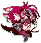 1girl 7th_dragon_(series) 7th_dragon_iii animal_ear_fluff animal_ears armored_boots bangs blush boots braid breasts cat_ears character_request commentary_request ear_piercing evil_grin evil_smile eyebrows_visible_through_hair from_side full_body grin hair_between_eyes high_heel_boots high_heels long_hair looking_at_viewer looking_to_the_side medium_breasts naga_u piercing red_eyes redhead shadow sharp_teeth side_braid sidelocks single_braid smile solo teeth thigh-highs thigh_boots vambraces very_long_hair white_background wide-eyed