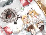 2girls absurdres blonde_hair blue_eyes campfire fur_hat girls_frontline hat highres jacket lying matsuo_(matuonoie) mosin-nagant_(girls_frontline) multiple_girls nagant_revolver_(girls_frontline) on_back rabbit red_eyes siblings sisters snow snow_bunny ushanka