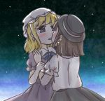 absurdres black_hat black_skirt blonde_hair blue_eyes blue_ribbon blush brown_hair dress earrings fedora gradient_sky hat highres jewelry kiss maribel_hearn medium_hair night night_sky purple_dress ribbon salt_(seasoning) short_sleeves skirt sky star star_(sky) star_earrings starry_sky touhou usami_renko white_hat yuri