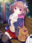 1girl backpack bag baozi beige_sweater bench beret blue_hat blue_jacket blurry blurry_background blush bow brown_hair brown_legwear commentary_request depth_of_field esureki fingernails food food_in_mouth hair_bobbles hair_ornament hat hat_bow highres holding holding_food jacket looking_at_viewer mouth_hold on_bed on_bench open_clothes open_jacket original park_bench pink_scrunchie plaid plaid_skirt plastic_bag pleated_skirt red_eyes red_skirt scrunchie shopping_bag sitting sitting_on_bed skirt sleeves_past_wrists solo sweater thigh-highs two_side_up white_bow