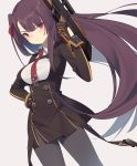black_footwear black_legwear black_skirt blazer breasts bullpup collared_shirt eyebrows_visible_through_hair framed_breasts girls_frontline gun hair_ribbon half_updo jacket large_breasts long_hair necktie one_side_up pantyhose personification purple_hair red_eyes red_neckwear red_ribbon ribbon rifle shirt shoes skirt sniper_rifle wa2000_(girls_frontline) walther walther_wa_2000 weapon yura_(botyurara)