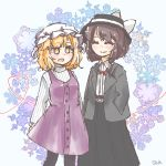 2girls belt black_skirt blonde_hair brown_hair closed_eyes closed_mouth dress dress_shirt fedora hair_ribbon hand_in_pocket hat heart heart_of_string highres jpeg_artifacts maribel_hearn medium_hair mob_cap multiple_girls open_mouth purple_dress ribbon salt_(seasoning) shirt short_hair skirt smile snowflake_background striped striped_shirt touhou usami_renko white_hat white_ribbon winter_clothes