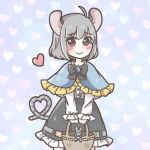 1girl animal_ears basket blouse blue_capelet blush capelet dress grey_dress grey_hair grey_ribbon heart heart_tail long_sleeves mouse mouse_ears nazrin salt_(seasoning) short_hair smile standing tail touhou white_blouse