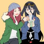 bandage beanie black_hair closed_eyes denim denim_jacket eating eyewear_on_head food food_on_face food_on_hair fruit hair_between_eyes hat holding holding_food hood hood_down hooded_jacket ice_cream jacket knit_hat long_hair minamoto_sakura multiple_girls napkin onsen_tamago_(hs_egg) open_mouth pants rag red_eyes redhead shirt sitting strawberry sunglasses t-shirt yamada_tae zombie_land_saga