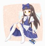 1girl absurdres apron blue_dress bow brown_eyes brown_hair cassette_player commentary_request decepticon dress earphones fairy fairy_wings hair_bow highres kneehighs knees_together_feet_apart long_hair p.w. ribbon sitting smile soundwave star_sapphire touhou transformers waist_apron white_legwear wings