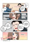 1boy 1girl 4koma black_hair blue_eyes bob_cut brown_hair comic facial_hair formal hard_translated nishino_kanako office_lady original otter stubble suit tears wakabayashi_toshiya