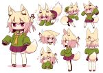 1girl :o all_fours anger_vein animal_ear_fluff animal_ears arms_up bangs bell bell_collar blonde_hair blush brown_collar chestnut_mouth closed_eyes collar commentary_request covered_mouth ears_down eighth_note eyebrows_visible_through_hair facing_away flying_sweatdrops fox_ears fox_girl fox_tail green_shirt hair_between_eyes hair_bun hair_ornament hands_up jingle_bell kemomimi-chan_(naga_u) leaning_forward long_hair long_sleeves looking_at_viewer multiple_views musical_note naga_u open_mouth orange_neckwear original parted_lips pleated_skirt profile purple_skirt red_eyes red_footwear ribbon-trimmed_legwear ribbon_trim sailor_collar shirt sidelocks skirt sleeves_past_fingers sleeves_past_wrists sparkle standing tail thigh-highs v-shaped_eyebrows wavy_mouth white_legwear white_sailor_collar