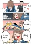 1boy 1girl 4koma beer_mug black_hair blue_eyes bob_cut brown_hair chopsticks cigarette clenched_teeth closed_eyes comic crosshair drinking facial_hair firing food formal gun hard_translated meat nishino_kanako office_lady original rifle stubble suit tears teeth trembling wakabayashi_toshiya weapon