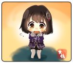 1girl artist_name black_hair black_skirt brown_eyes chibi commentary_request full_body gloves haguro_(kantai_collection) hair_ornament hairclip kantai_collection military military_uniform open_mouth pantyhose pencil_skirt remodel_(kantai_collection) short_hair skirt solo standing taisa_(kari) uniform wavy_mouth white_gloves white_legwear yellow_background