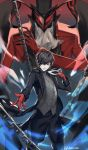 absurdres amamiya_ren arsene_(persona_5) black_coat black_eyes black_hair black_pants chains gloves hair_over_one_eye highres holding holding_mask looking_at_viewer mask pants persona persona_5 red_gloves standing