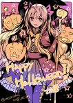 1girl :d blonde_hair bow bowtie cane dated dot_nose dress english ereshkigal_(fate/grand_order) eyebrows_visible_through_hair fate/grand_order fate_(series) hair_bow halloween halloween_costume happy_halloween highres holding jack-o'-lantern katsushika_hokusai_(fate/grand_order) legs_together looking_at_viewer open_mouth pantyhose pink_bow pumpkin purple_legwear red_dress red_eyes rioka_(southern_blue_sky) sash smile solo standing star twitter_username two_side_up yellow_neckwear