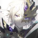 1boy armor bangs blurry broken_mask chromatic_aberration closed_mouth commentary_request depth_of_field eyelashes fate/grand_order fate_(series) gao_changgong_(fate) hair_between_eyes half_mask head_tilt looking_at_viewer male_focus portrait rella shards short_hair simple_background solo violet_eyes white_background white_hair