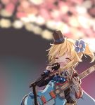 1girl alternate_costume asymmetrical_gloves crying girls_frontline gloves guitar hat highres idol_clothes instrument matsuo_(matuonoie) microphone music nagant_revolver_(girls_frontline) singing solo stage top_hat