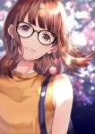 1girl black-framed_eyewear brown_eyes brown_hair eyebrows_visible_through_hair floating_hair glasses grin head_tilt lens_flare looking_at_viewer original shirt sleeveless sleeveless_shirt smile solo sone_(takahiro-osone) upper_body yellow_shirt