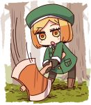 1girl :o axe bangs battle_axe beret blonde_hair blush_stickers boots brown_eyes brown_footwear brown_gloves brown_legwear chibi eyebrows_visible_through_hair fate/grand_order fate_(series) full_body gloves green_hat green_jacket hat holding holding_axe jacket knee_boots long_sleeves motion_lines naga_u pantyhose parted_bangs parted_lips paul_bunyan_(fate/grand_order) solo standing tree two-handed weapon
