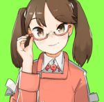 1girl adjusting_eyewear brown_eyes brown_hair co_botan commentary_request green_background hand_up head_tilt highres kantai_collection light_blush long_sleeves looking_at_viewer magatama medium_hair ryuujou_(kantai_collection) semi-rimless_eyewear simple_background sketch_eyebrows slit_pupils solo under-rim_eyewear upper_body