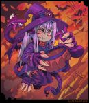 1girl :t artist_name bat black_border blush border bump claws closed_mouth commentary commentary_request dragon_girl dragon_horns dragon_tail dress english_commentary fewer_digits floating hair_between_eyes halloween hat head_bump horns long_hair long_sleeves looking_at_viewer monster_girl monster_girl_encyclopedia purple_dress purple_hair purple_hat ramenwarwok red_eyes signature simple_background tail tentacle tumblr_username witch_hat