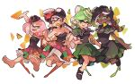 +_+ 4girls :d aori_(splatoon) arm_grab arm_up bangs bare_shoulders barefoot black_capelet black_footwear black_hair black_skin blunt_bangs breasts capelet cephalopod_eyes cleavage commentary cousins crown domino_mask dress earrings english_commentary fang fangs floral_print food food_in_mouth food_on_head gradient_hair green_eyes green_hair grey_hair hand_on_hip hime_(splatoon) hotaru_(splatoon) iida_(splatoon) jewelry jumping locked_arms long_hair looking_at_another looking_at_viewer looking_back makeup mascara mask medium_breasts medium_dress medium_hair mole mole_under_eye mouth_hold multicolored multicolored_hair multicolored_skin multiple_girls nachos object_on_head octarian open_mouth paint_splatter petticoat pink_eyes pink_hair pointy_ears print_dress shoes short_hair sleeveless sleeveless_dress smile splatoon splatoon_(series) splatoon_1 splatoon_2 standing strapless strapless_dress suction_cups sushi tentacle_hair white_background wong_ying_chee