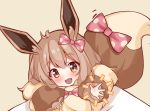 1girl :3 :d animal_ears bangs blush bow brown_background brown_eyes brown_hair creatures_(company) eevee eyebrows_visible_through_hair fur game_freak gen_1_pokemon hair_between_eyes hair_bow head_tilt highres long_sleeves looking_at_viewer nintendo open_mouth personification pink_bow pokemon pokemon_(game) pokemon_lgpe polka_dot polka_dot_bow puffy_long_sleeves puffy_sleeves scarlet_dango simple_background smile solo tail tail_bow tail_raised