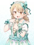 1girl :d bangs bare_shoulders blush bow brown_eyes brown_hair collarbone commentary_request eyebrows_visible_through_hair frilled_hairband frills green_bow green_hairband green_shirt hair_between_eyes hair_bow hairband hands_up holding holding_microphone idolmaster idolmaster_cinderella_girls long_hair microphone morikubo_nono open_mouth puffy_short_sleeves puffy_sleeves ringlets shirt short_sleeves skirt sleeveless sleeveless_shirt smile solo ushi white_sleeves wrist_cuffs