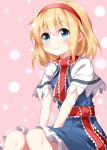 1girl alice_margatroid ascot bangs blonde_hair blue_dress blue_eyes capelet closed_mouth dress frilled_ascot frilled_sash frills hairband hands_on_lap highres lolita_hairband looking_afar patterned_background pink_background pink_hairband puffy_short_sleeves puffy_sleeves red_neckwear ruu_(tksymkw) sash short_hair short_sleeves sitting smile solo touhou