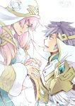 1boy 1girl armor blue_eyes brother_and_sister dated earrings feather_trim fire_emblem fire_emblem_heroes from_side fur_trim gunnthra_(fire_emblem) hair_ornament hand_holding hrid_(fire_emblem_heroes) jewelry long_hair long_sleeves nintendo parted_lips pink_hair short_hair shoulder_armor siblings silver_hair simple_background spiky_hair veil white_background yugyouji_tama