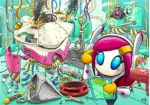 1girl blue_eyes desk finger_to_face food hair_ornament hairclip holographic_interface ice_cream kirby:_planet_robobot kirby_(series) mecha nintendo official_art pink_hair plug repairing screw smoke solo spoon susie_(kirby) wire wrench