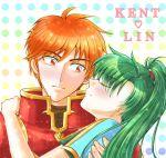 1boy 1girl armor blush celes_(milklate) closed_eyes embarrassed english fire_emblem fire_emblem:_rekka_no_ken green_hair holding kent_(fire_emblem) lyndis_(fire_emblem) nintendo red_eyes redhead smile