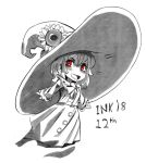 1girl :d big_hat blush bright_pupils character_request copyright_request dated dress flower greyscale halloween hat hat_flower inktober looking_at_viewer monochrome open_mouth ramenwarwok red_eyes simple_background smile spot_color sunflower white_background