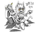 1girl :d animal_ears bangs breasts candle cat_ears cat_tail cheshire_cat_(monster_girl_encyclopedia) claw_pose cleavage dated greyscale halloween high_heels inktober kneeling looking_at_viewer monochrome monster_girl monster_girl_encyclopedia navel open_mouth orange_eyes panties ramenwarwok scar sharp_teeth short_hair simple_background skeleton skull smile solo spot_color surgical_scar tail teeth tombstone underwear white_background