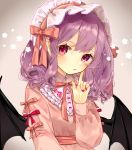 1girl bad_id bad_pixiv_id bat_wings black_wings blush finger_to_cheek floral_print gradient gradient_background grey_background headdress highres index_finger_raised long_hair long_sleeves looking_at_viewer nail_polish parted_lips pink_ribbon pointy_ears purple_hair red_eyes red_nails red_ribbon remilia_scarlet ribbon slit_pupils solo star touhou upper_body wings yedan