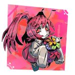 1girl alternate_hairstyle antennae blush bow closed_mouth commentary english_commentary entoma_vasilissa_zeta fangs fangs_out flower hair_bobbles hair_ornament holding insect_girl long_hair looking_at_viewer monster_girl overlord_(maruyama) pink_background pink_skirt pleated_skirt purple_hair ramenwarwok red_bow red_eyes skirt sleeves_past_fingers sleeves_past_wrists slit_pupils smile solo standing twintails white_skin yellow_flower