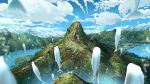 1girl animal blue_sky blurry bridge clouds cloudy_sky commentary_request cross day deer depth_of_field facing_away fantasy fish highres lake long_hair mountain mountainous_horizon original outdoors scenery sky solo standing very_wide_shot water watermother2004