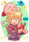 1boy apple blonde_hair blue_eyes blush chibi food fruit highres kirby kirby_(series) kiriya_(552260) male_focus nintendo open_mouth short_hair shulk super_smash_bros. super_smash_bros._ultimate worms xenoblade_(series) xenoblade_1