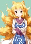 1girl animal_ears blonde_hair crossed_arms dress fox_ears fox_tail frills green_background highres kitsune kyuubi long_sleeves multiple_tails no_hat no_headwear open_mouth ruu_(tksymkw) simple_background solo tabard tail touhou white_dress yakumo_ran yellow_eyes