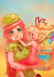2girls absurdres bag baozi bare_arms blonde_hair blue_sky bracelet braid carrying child_carry china_dress chinese_clothes crystal dress earrings eyebrows_visible_through_hair fang feeding flandre_scarlet food gradient_sky green_dress green_eyes green_hat hair_tubes hat hat_ribbon highres hong_meiling jewelry long_hair multiple_girls open_mouth orange_sky pointy_ears red_dress red_eyes red_footwear red_ribbon redhead ribbon shoes short_eyebrows short_sleeves side_ponytail sitting sky socks star strapless strapless_dress thick_eyebrows touhou twin_braids very_long_hair white_legwear wings yst