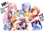 2017 2boys 4girls anniversary aqua_hair artist_name black_sailor_collar black_shirt blonde_hair blue_hair blue_scarf blush bow brother_and_sister brown_hair closed_eyes colored_pencil_(medium) crop_top dated eyebrows_visible_through_hair eyes_visible_through_hair green_eyes group_hug hair_between_eyes hair_bow hair_ornament hairclip hand_on_another's_head hatsune_miku headphones headset hug kagamine_len kagamine_rin kaito long_hair medium_hair megurine_luka meiko microphone mojacookie multiple_boys multiple_girls necktie one_eye_closed open_mouth pink_hair red_shirt sailor_collar scarf shirt short_hair short_sleeves siblings sleeveless smile traditional_media translation_request twins twintails upper_body vocaloid white_bow white_shirt