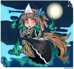 1girl animal_ears bangs black_dress blunt_bangs blush brown_hair claws commentary dog_ears dress english_commentary feathers floating ghost hair_feathers hitodama kikimora_(monster_girl_encyclopedia) long_dress looking_at_viewer monster_girl monster_girl_encyclopedia open_mouth orange_eyes ramenwarwok short_hair smile solo tombstone triangular_headpiece