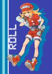1girl behind_ear belt bike_shorts bike_shorts_under_shorts blonde_hair blue_background breasts brown_gloves cabbie_hat capcom character_name full_body gloves green_eyes hair_between_eyes hand_on_hip hat index_finger_raised long_hair okome_(liveokome) pencil red_footwear red_shorts rockman rockman_dash roll_caskett short_shorts short_sleeves shorts sidelocks simple_background small_breasts smile solo teeth wrench