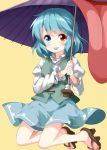 1girl bangs blue_eyes blue_hair blue_skirt blue_vest geta heterochromia highres holding holding_umbrella juliet_sleeves karakasa_obake long_sleeves looking_at_viewer no_socks puffy_sleeves red_eyes ruu_(tksymkw) shirt short_hair simple_background skirt tatara_kogasa tongue tongue_out touhou umbrella vest white_shirt yellow_background