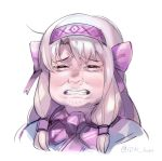 1girl bangs blonde_hair bow clenched_teeth closed_eyes commentary crying english_commentary eyebrows_visible_through_hair facing_viewer fate/grand_order fate_(series) golden_kamuy hair_bow hair_tubes hairband idk-kun portrait purple_bow simple_background sitonai snot solo tears teeth twitter_username white_background