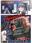 belt black_skirt comic gangut_(kantai_collection) grey_hair ground_vehicle hat highres ido_(teketeke) jacket jacket_on_shoulders kantai_collection kiyoshimo_(kantai_collection) kv-2 long_hair military military_hat military_vehicle motor_vehicle peaked_cap pipe pipe_in_mouth red_shirt russian shirt skirt tank translation_request white_jacket world_war_ii
