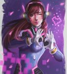1girl absurdres arms_up bangs blue_bodysuit bodysuit breasts brown_eyes brown_hair closed_mouth commentary_request d.va_(overwatch) eyelashes facial_mark gloves headphones headset heart heart_hands high_collar highres lips long_hair looking_at_viewer medium_breasts nose one_eye_closed overwatch pilot_suit pink_facepaint pink_lips ribbed_bodysuit shiro-hane shoulder_pads skin_tight solo standing swept_bangs whisker_markings white_gloves
