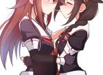 2girls black_serafuku braid brown_hair food hair_flaps hair_over_shoulder kantai_collection kuroten multiple_girls neckerchief pocky pocky_kiss remodel_(kantai_collection) school_uniform serafuku shared_food shigure_(kantai_collection) shiratsuyu_(kantai_collection) simple_background single_braid whistle whistle_around_neck white_background