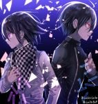 2boys black_hair black_shirt bullet danganronpa ears lips medicine_melancholy multiple_boys new_danganronpa_v3 nose ouma_kokichi purple_background purple_hair red_eyes saihara_shuuichi sakuyu shirt short_hair white_shirt z-epto_(chat-noir86)
