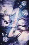 1boy 1girl black_blindfold black_choker black_ribbon blindfold blindfold_slip choker commentary dress english_commentary flower flower_on_liquid grey_eyes grey_hair hand_on_own_chest holding holding_flower k_(sktchblg) long_sleeves nier_(series) nier_automata open_mouth ribbon ribbon_choker shirt short_hair short_sleeves water white_dress white_flower white_shirt yorha_no._2_type_b yorha_no._9_type_s